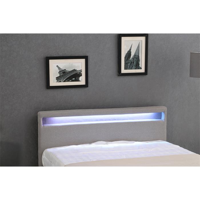 Polsterbett SATOKA mit LED 120x200 cm grau inkl. Lattenrost