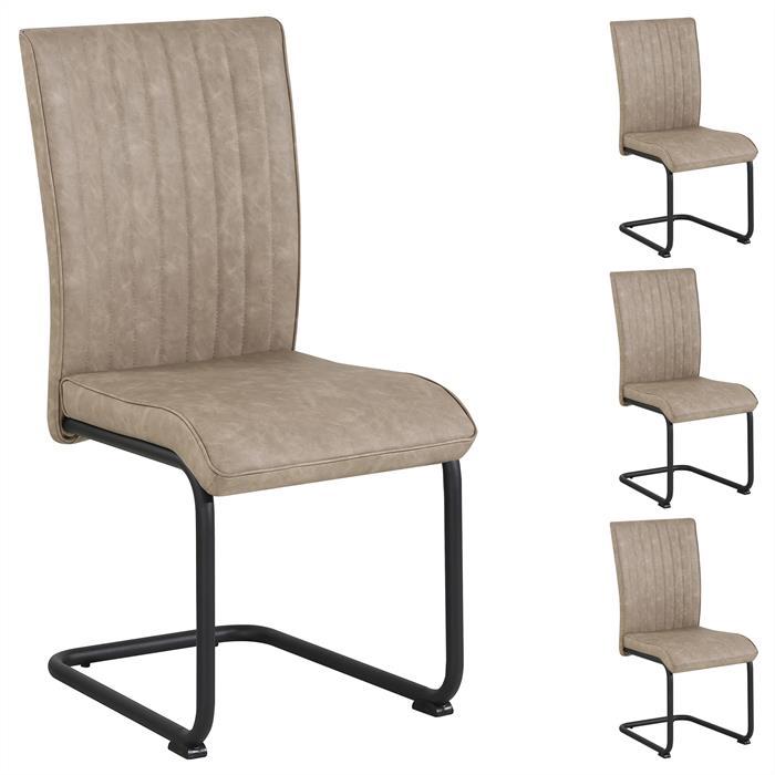 4er Set Esszimmerstühle CRUZ aus Kunstleder in hellbraun