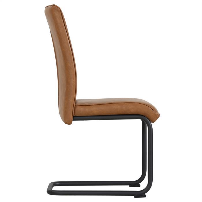 4er Set Esszimmerstühle CRUZ aus Kunstleder in dunkelbraun