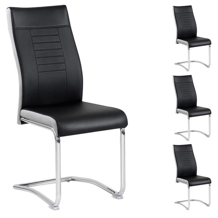 4er Esszimmerstuhl Set LOANO in schwarz