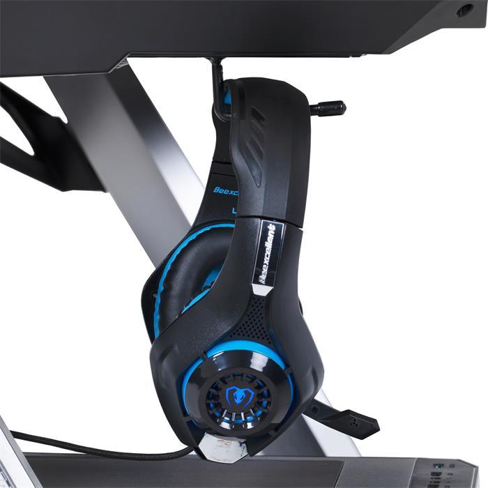 Gaming Tisch RUSH mit LED Beleuchtung, alufarbig