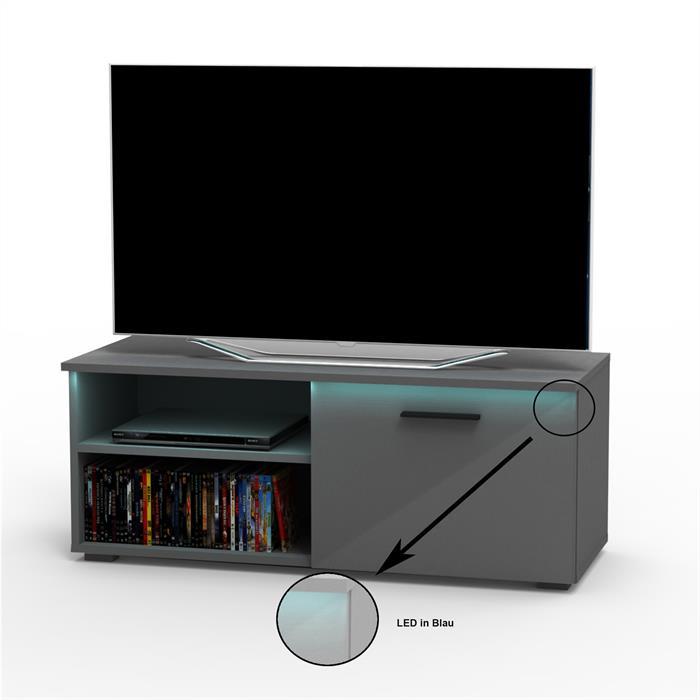 TV-Lowboard MALIBU in grau Hochglanz mit LED-Beleuchtung