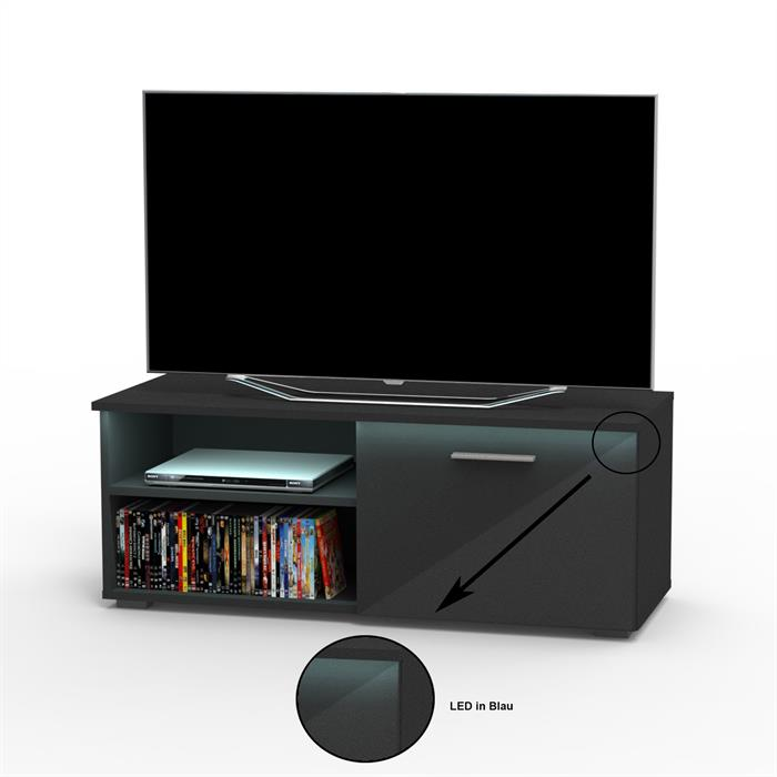 TV-Lowboard MALIBU in schwarz Hochglanz