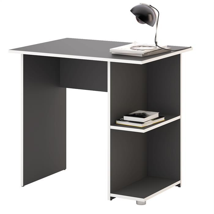 Schreibtisch KUBA in grau/weiß mit 2 Ablagefächern