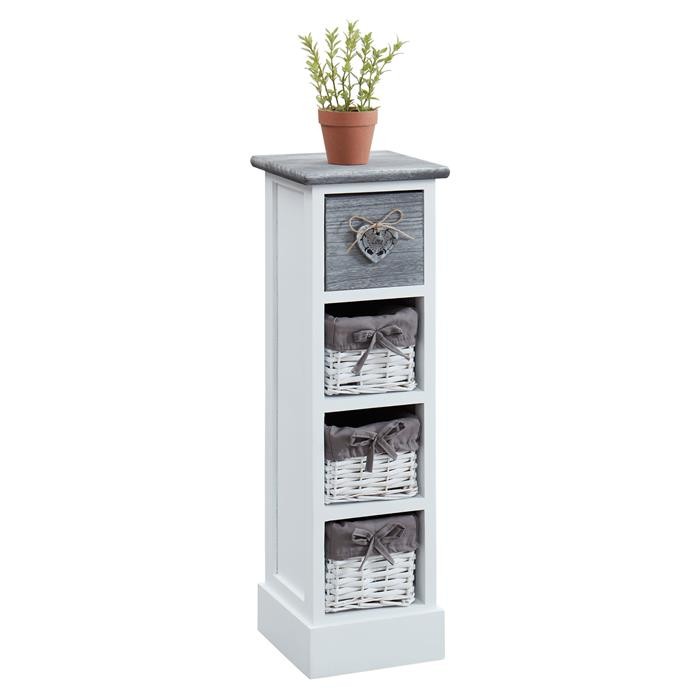 Kommode FLOWER in weiß mit 1 Schublade und 3 Körben
