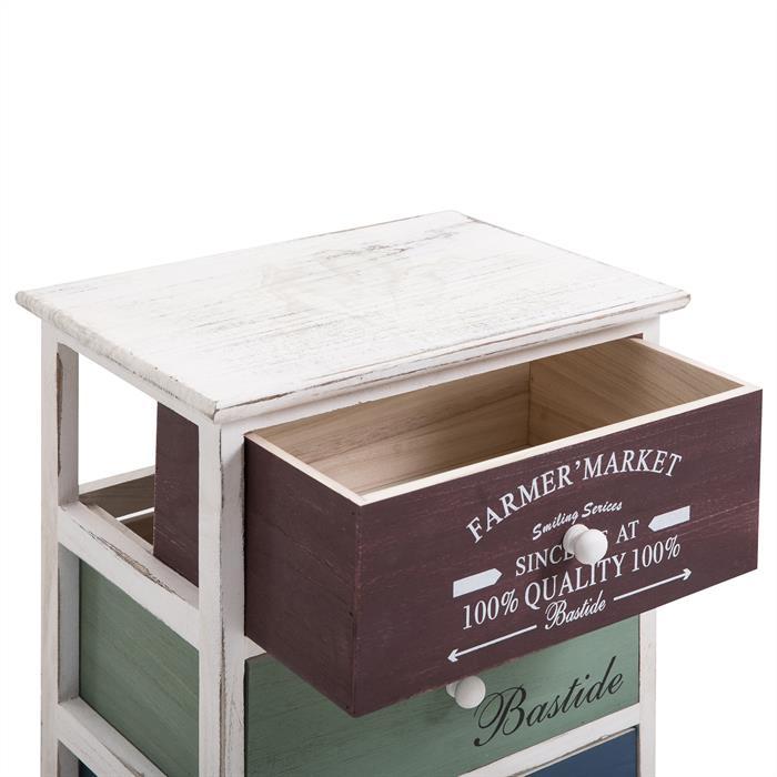 Kommode COLORIS in weiß, mit 4 Schubladen in 3 Farben