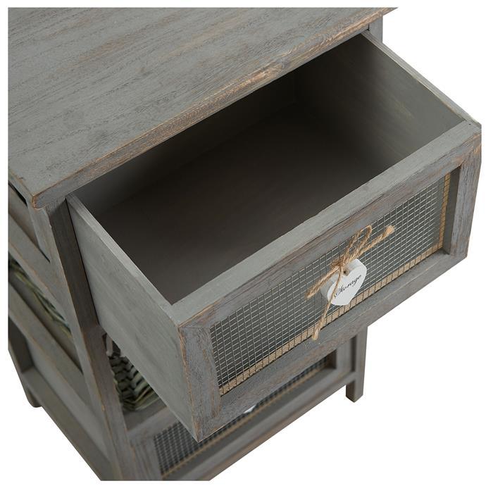 Kommode MAURICE grau, mit 2 Schubladen und 1 Korb