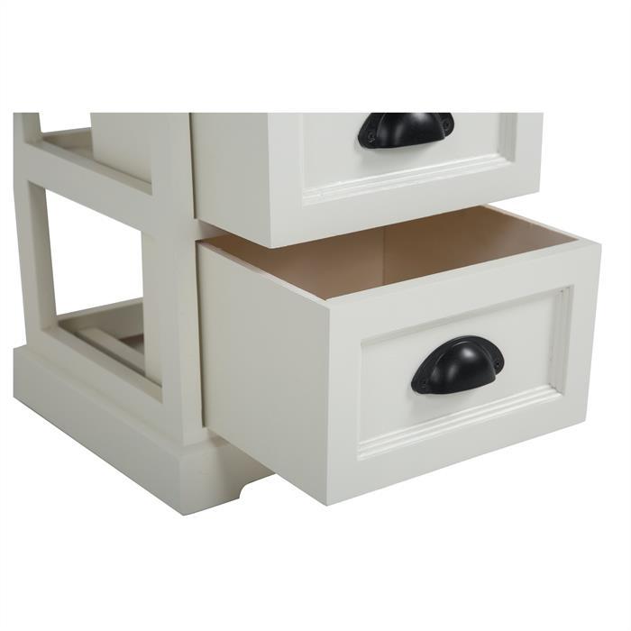 Nachttisch LANDHAUS weiß mit 2 Schubladen