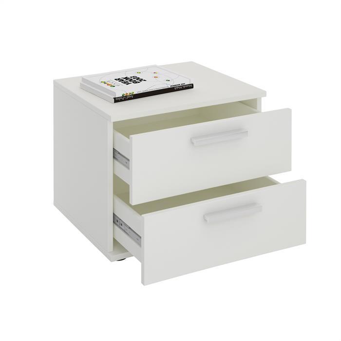 Nachttisch MAXIMA in weiß mit 2 Schubladen