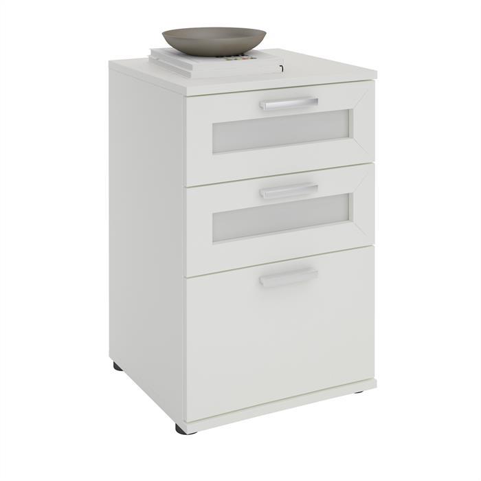 Nachttisch MARIKE in weiß mit 3 Schubladen