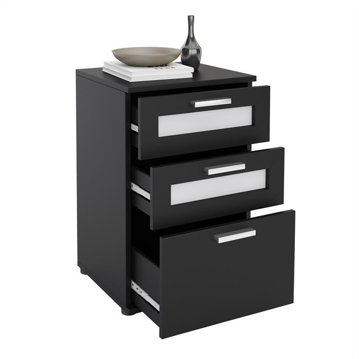 Nachttisch MARIKE in schwarz mit 3 Schubladen