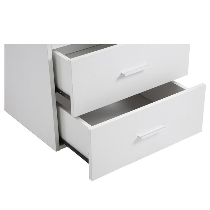 Nachttisch MERKUR weiß mit 2 Schubladen