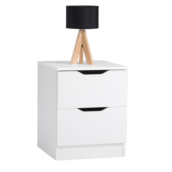 Nachttisch NEPTUN weiß mit 2 Schubladen