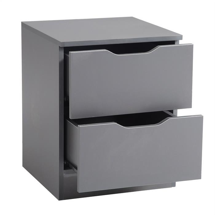 Nachttisch NEPTUN grau mit 2 Schubladen