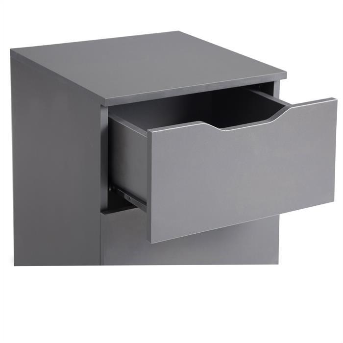 Nachttisch NEPTUN grau mit 3 Schubladen