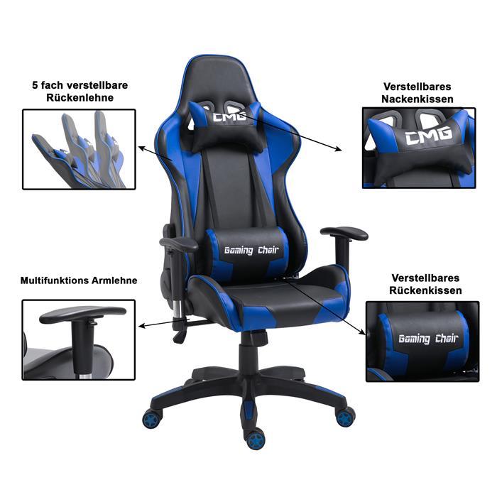 Bürodrehstuhl GAMING in schwarz/blau
