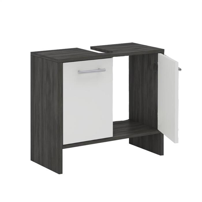Waschbeckenunterschrank TOULOUSE in Esche grau / weiß