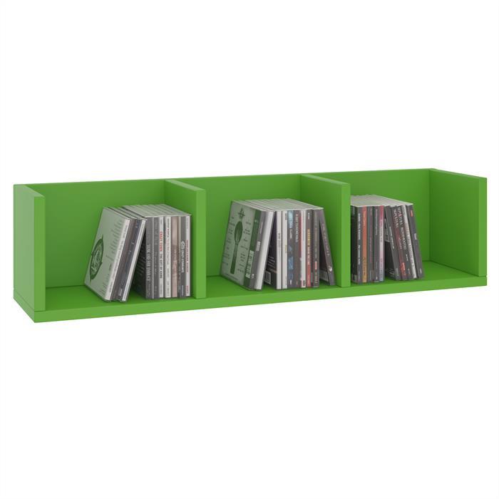 CD/DVD-Regal STARS mit 3 Fächern in grün