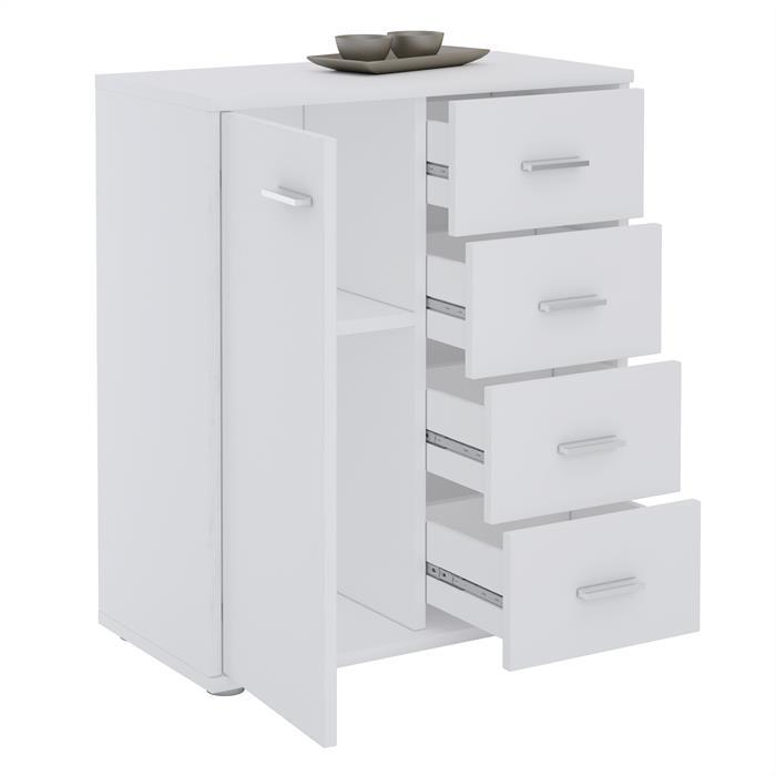 Kommode TIRANO 1 Tür, 4 Schubladen, weiß