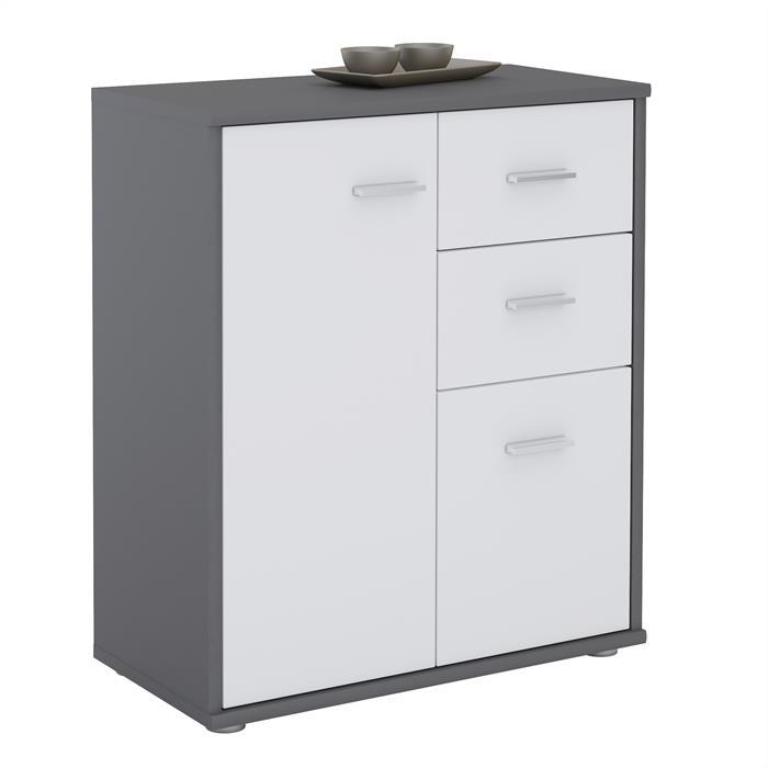 Kommode LOCARNO in grau/weiß