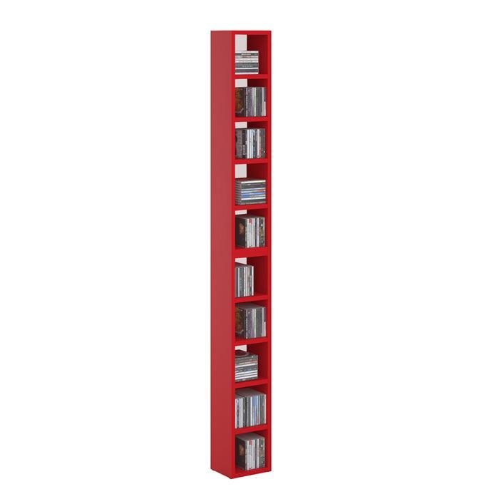 CD / DVD Regal CHART mit 10 Fächern in rot