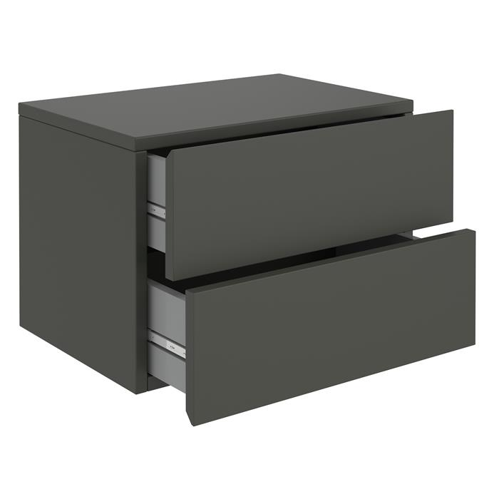 Wandregal Nachtschrank ANNI mit 2 Schubladen in grau
