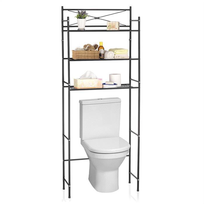 Toiletten Waschmaschinen Regal MARSA mit 3 Ablagen in 3 schwarz