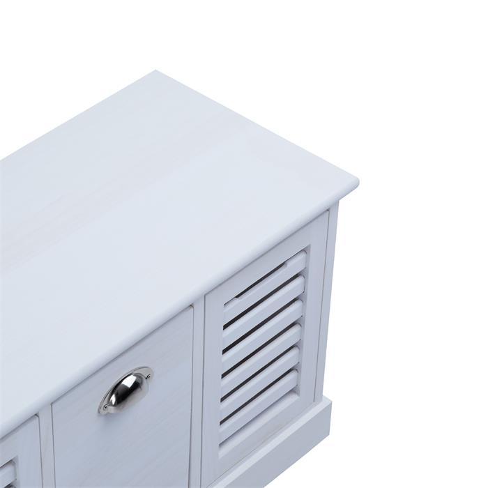 Sitzbank TRIENT in weiß, 3 Schubkästen