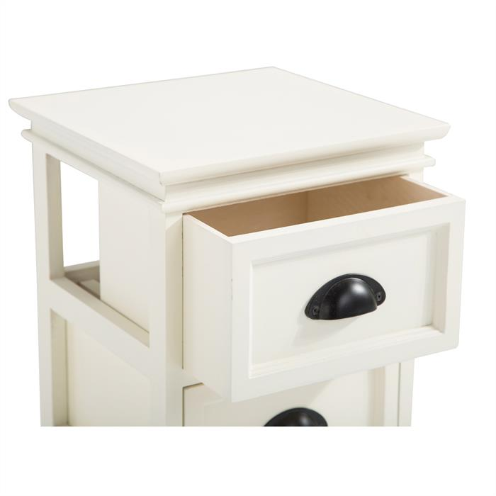 Nachttisch LANDHAUS in weiß, 3 Schubladen