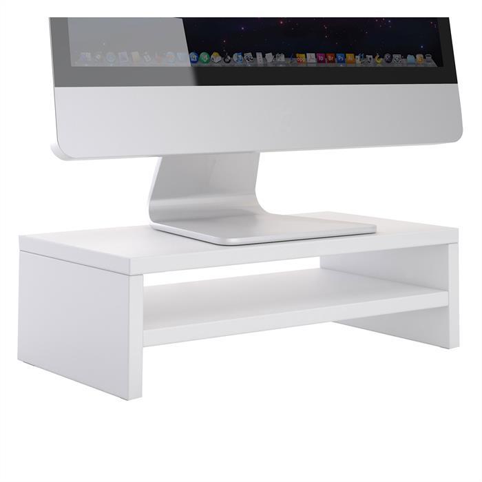 Monitorständer SUBIDA in weiß mit Ablagefach