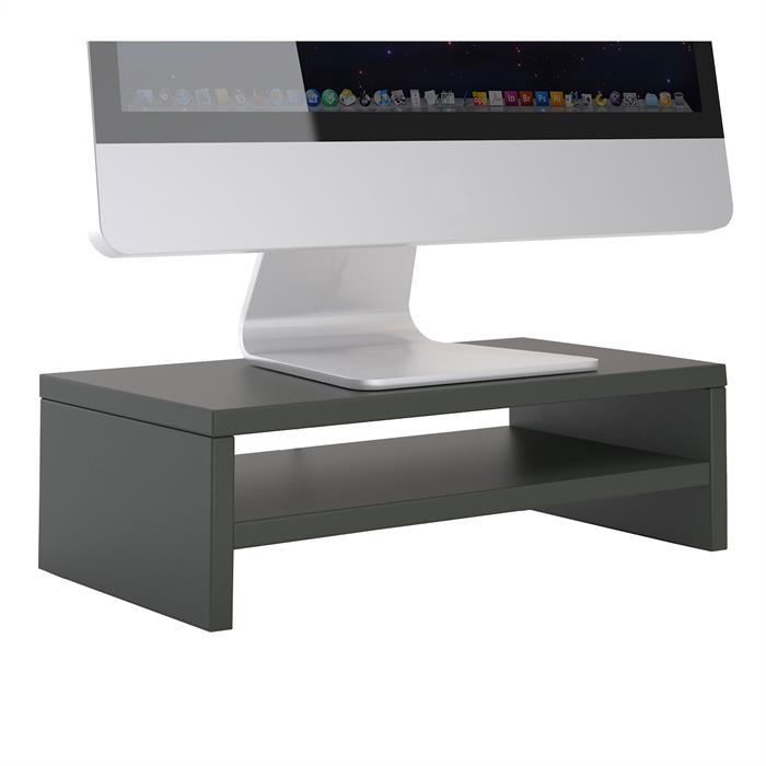 Bildschirmaufsatz SUBIDA in grau mit Ablagefach