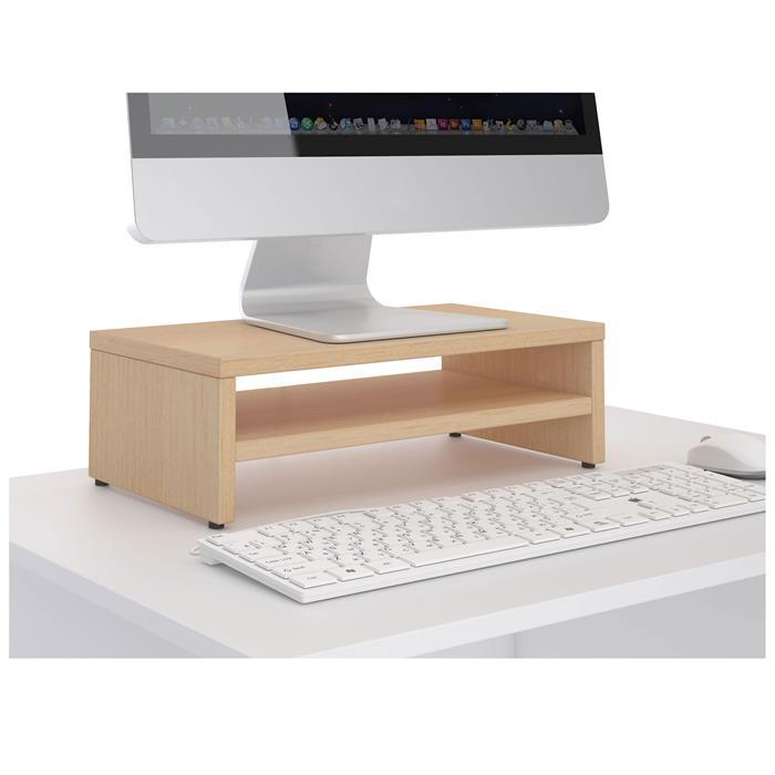 Monitorständer SUBIDA in buchefarben mit Ablagefach