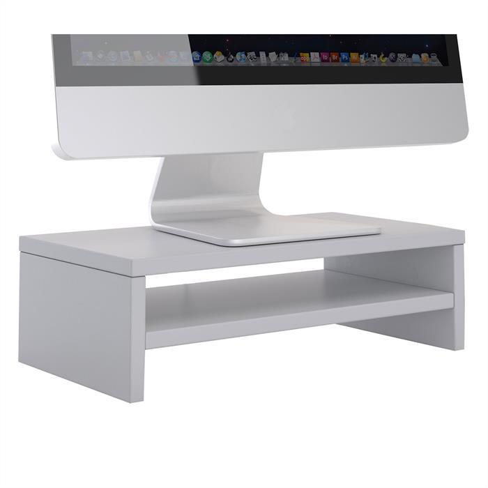 Monitorständer SUBIDA in hellgrau mit Ablagefach