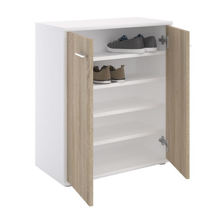 Schuhschrank LENNIS 2 Türen in weiß/Sonoma Eiche