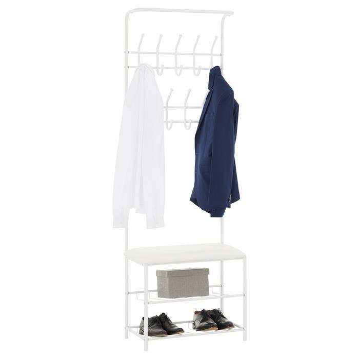 Garderobe WARDIE mit Schuhbank in weiß lackiert