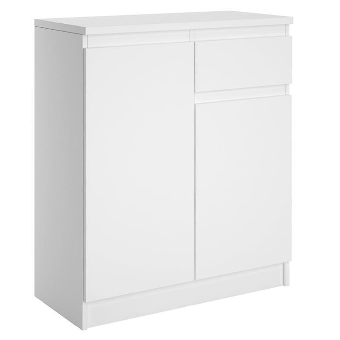 Kommode ROSALI grifflos mit 2 Türen, 1 Schublade in weiß