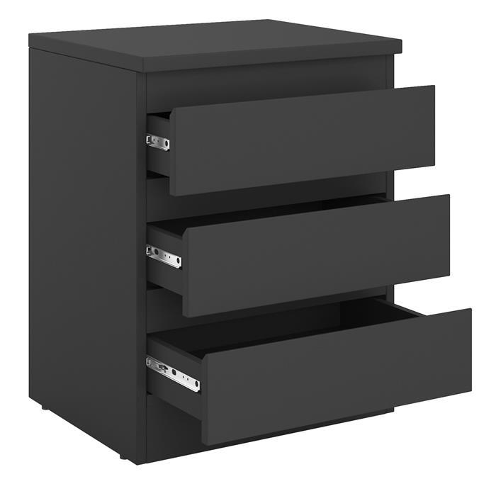 Nachtkommode DAHLIA mit 3 grifflosen Schubladen in schwarz