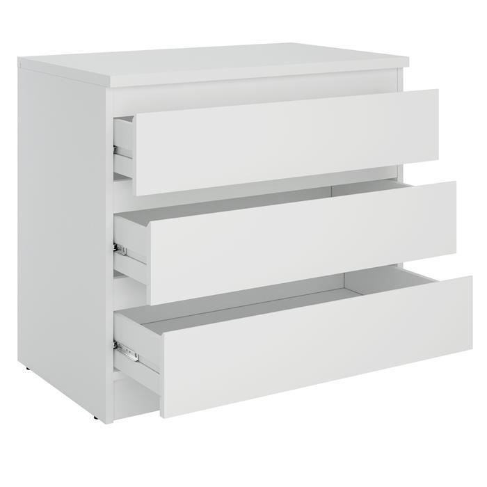 Kommode DANDE mit 3 grifflosen Schubladen in weiß