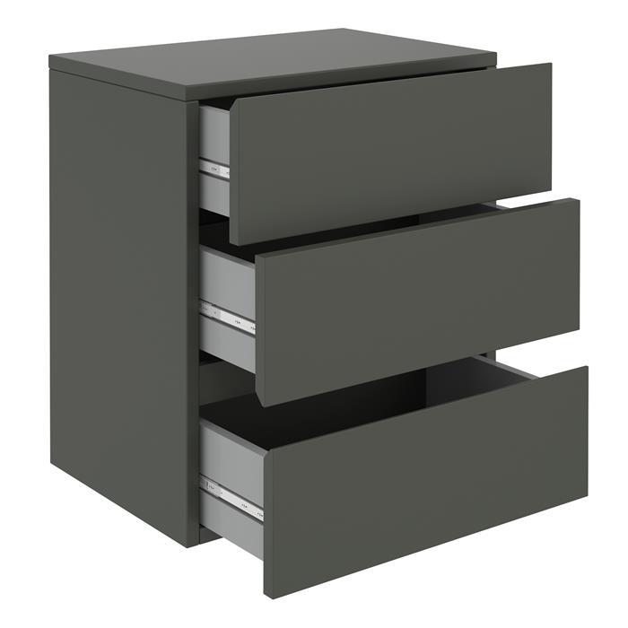 Hängeregal Nachtschrank ANNO mit 3 Schubladen in grau