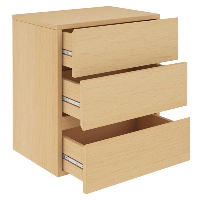Hängeregal Nachtschrank ANNO mit 3 Schubladen in buchefarben