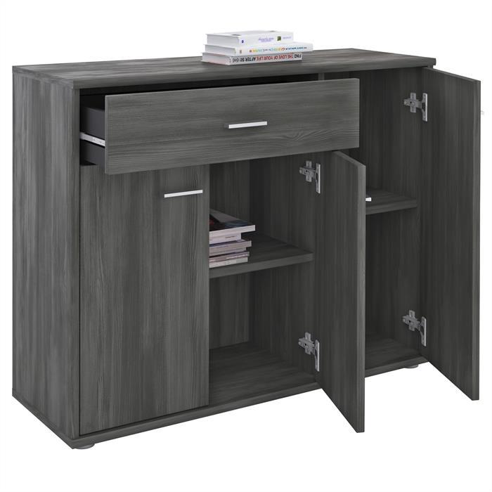 Kommode ESTELLE mit 3 Türen, 1 Schublade in Esche grau