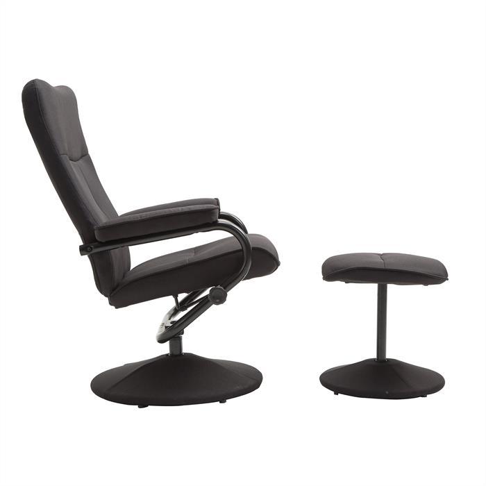 Relaxsessel DAKOTA mit Hocker in schwarz