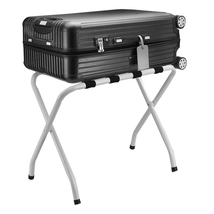 Kofferständer LUGGAGE Metall weiß lackiert, klappbar