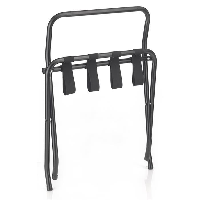 Kofferständer SUITE in schwarz klappbar mit Wandschutz