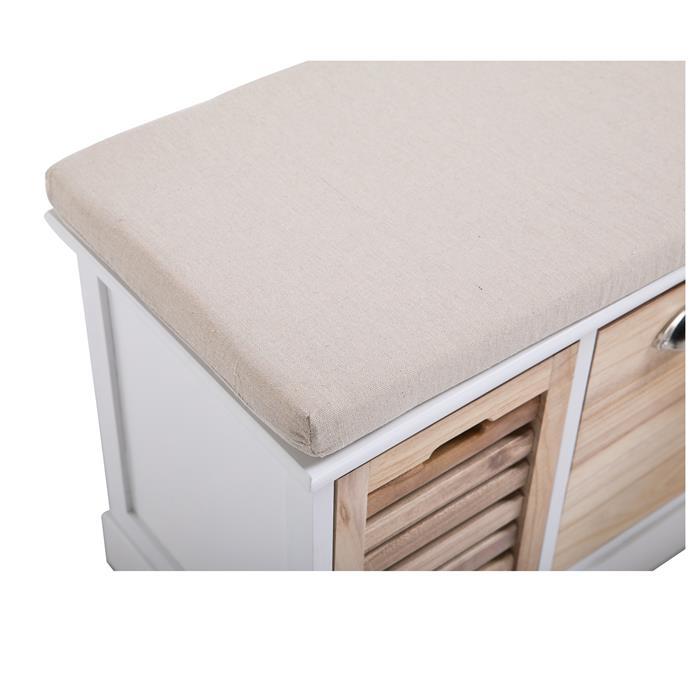 Sitzbank TRIENT in weiß/natur mit Sitzkissen, 3 Schubkästen