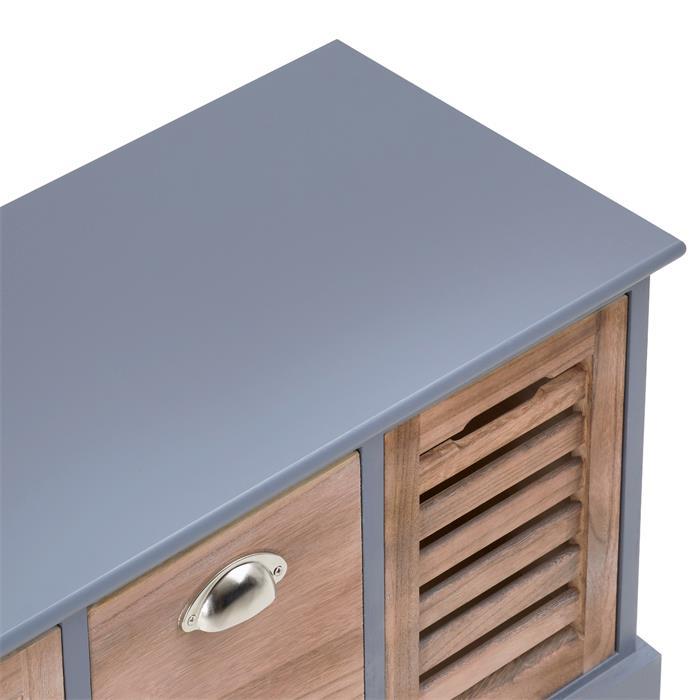 Sitzbank TRIENT in grau/natur, 3 Schubkästen