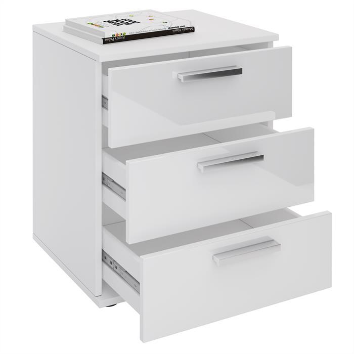 Nachttisch MARIELLA Hochglanz weiß mit 3 Schubladen