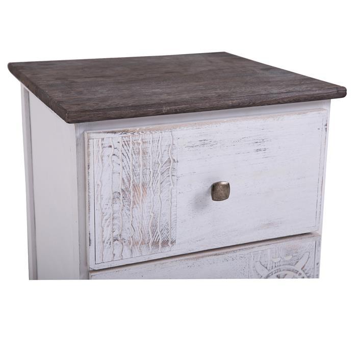 Nachttisch JUNA Shabby Chic mit 2 Schubladen
