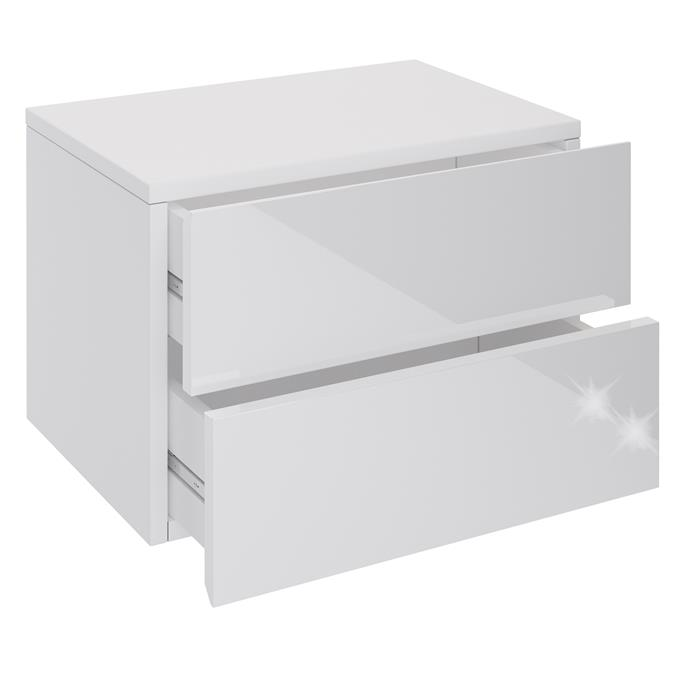 Wandregal Nachtschrank ANNI mit 2 Schubladen in Hochglanz weiß