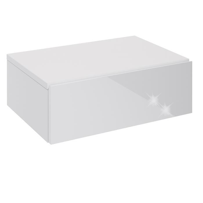 Hängende Nachtkommode ANNE mit 1 Schublade, Hochglanz weiß